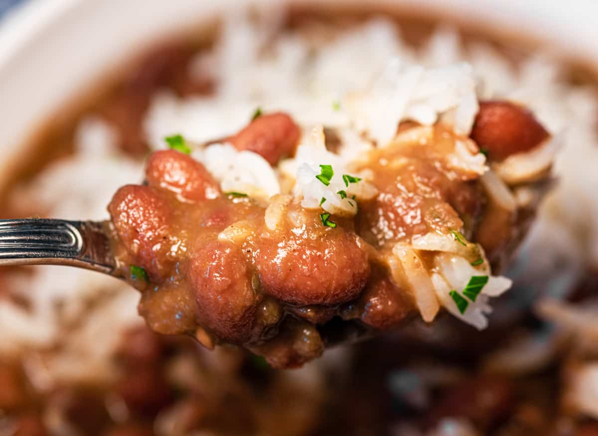 Up close shot of red beans and rice.