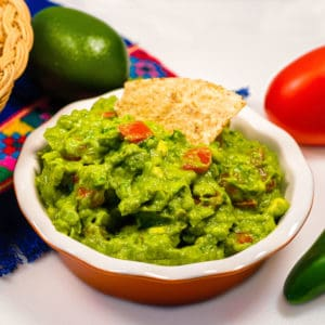 Guacamole in a dish with a toritall chip in it.