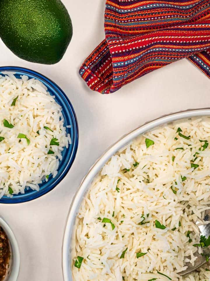 Cilantro lime rice in a serving bowl.